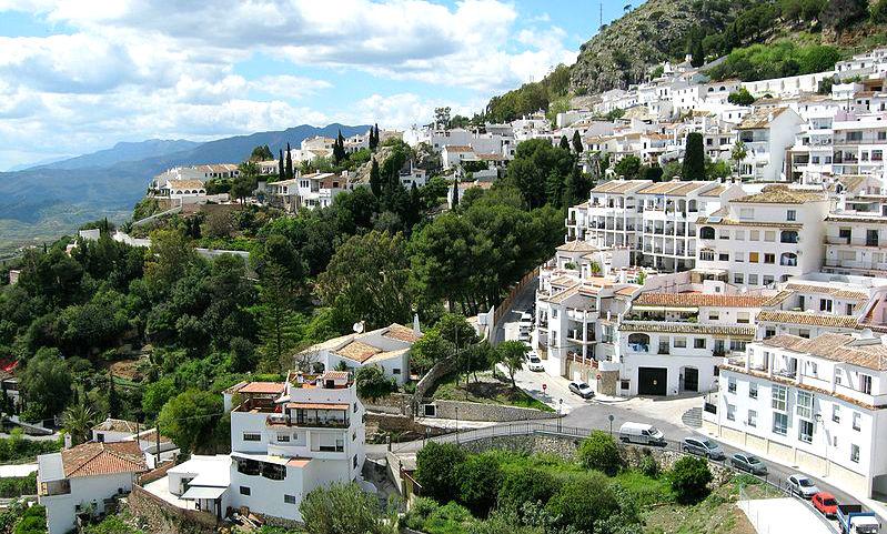 The hillside town