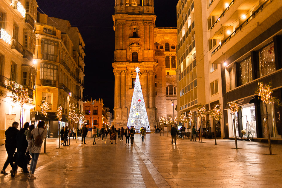 Catherdal of Malaga during Christmas