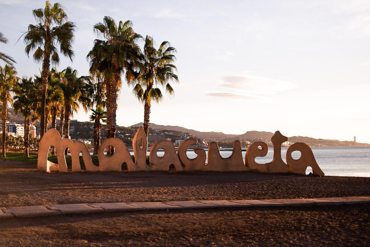 Malagueta beach sign
